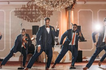 Groom-Performs-Can-You-Stand-the-Rain-with-his-Groomsmen-weunitemusic-weunitemusic.com